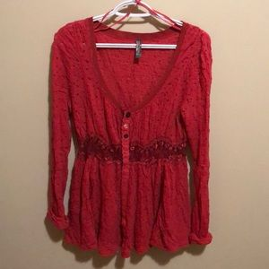 Red lacy Free People Blouse